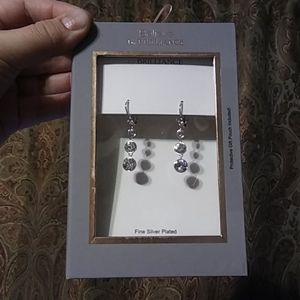 Crystal 4 stone silver plated drop earrings